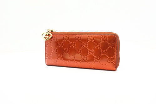 Gucci Zippy Long Wallet in Metallic Orange Guccissima Leather