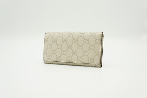 Gucci Guccissima Long Wallet in White Leather
