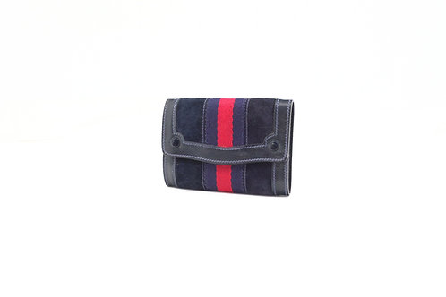 Gucci Sherry Line 8 Key Case in Navy Suede