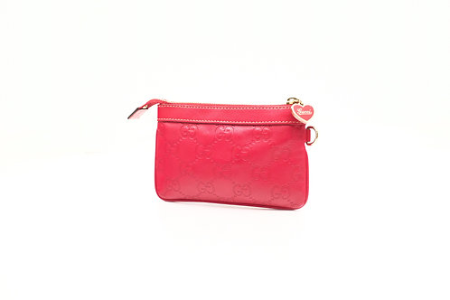 Gucci Guccissima Coin Pouch in Red Leather