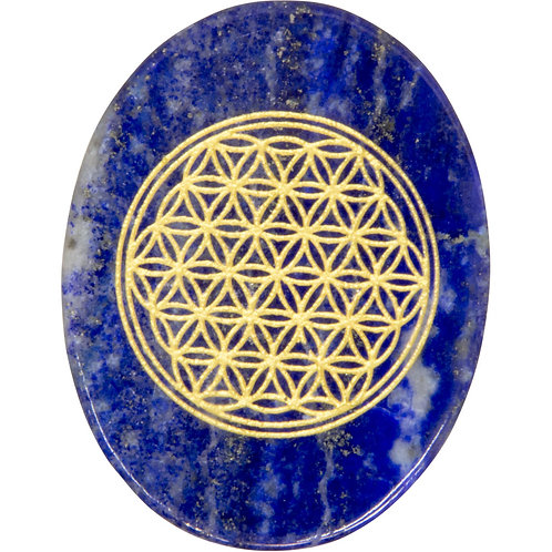 Lapis Worry Stone with Flower of Life