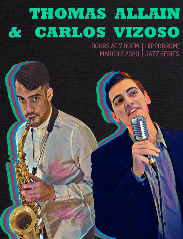 Poster for the Hippodrome Jazz Series Spring 2020 with Carlos Vizoso - made by Thomas Allain