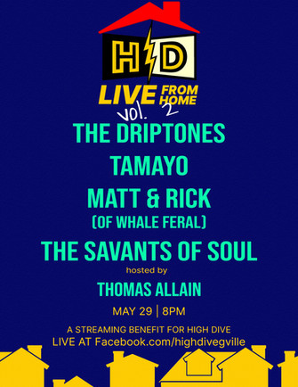 Promo poster for the High Dive Live From Home Vol. 2 benefit concert - made by Thomas Allain