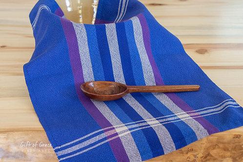 "Handwoven Cotton Kitchen Towel-""Northern Lights"" (royal w/silver stripes)"