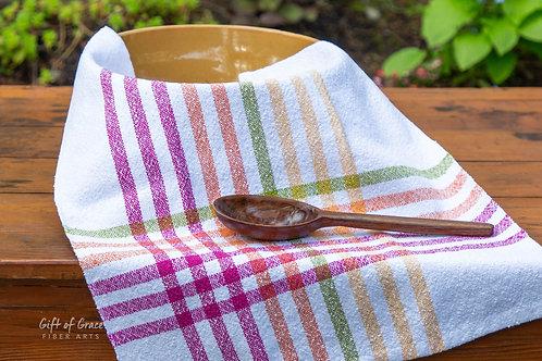 """6 Handwoven Cotton Kitchen Towels--""""April Showers"""""""