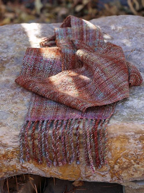 "Handspun/Handwoven Scarf ""Autumn Rain"""