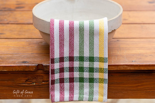 "1 Handwoven Cotton Kitchen Towels ""Winter Solstice"" (forest stripes)"