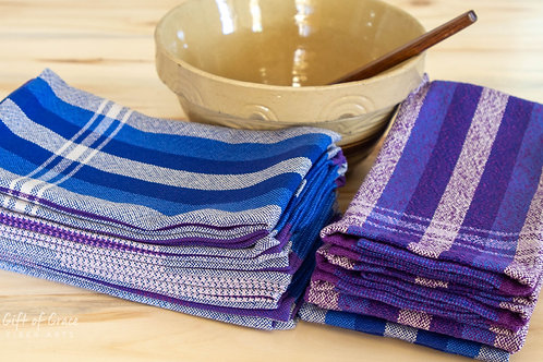 "CUSTOM--set of 10 Handwoven Cotton Kitchen Towels-""Northern Lights"""