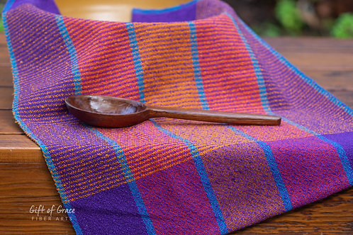 "3 Handwoven Cotton Kitchen Towels--""Welcome Home"""