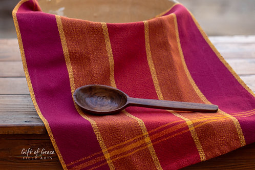 "1 Handwoven Cotton Kitchen Towel ""Gathering"" (ver. 2-raspberry weft)"