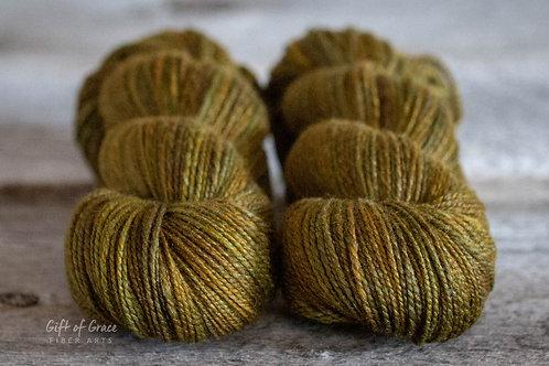 "DK Weight Polwarth/Silk (85/15) ""Brass Pot"""