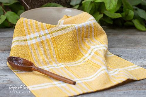 "2 Handwoven Cotton/Linen Kitchen Towels-""Sunlight"""