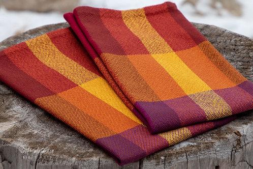 "2 Handwoven Cotton Kitchen Towel ""Gathering"" #8, #19"