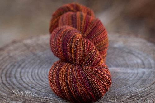 """Light Fingering Weight Organic Polwarth/Silk """"Autumn Equinox"""" (skein #1)"""