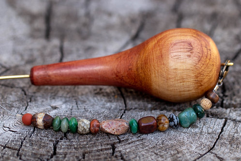 Cedar Wood Spinning Wheel Hook  (choice of Stones)