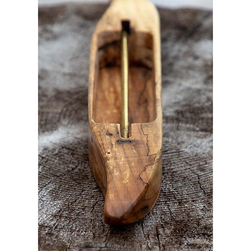 Spalted Maple Wood Boat Shuttle for Weaving (#2)