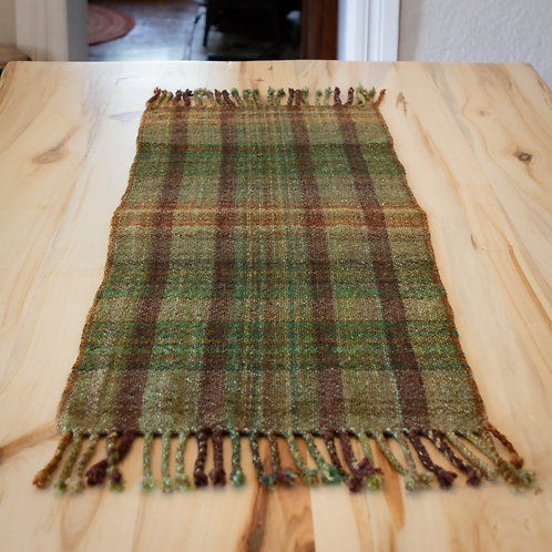 "Handspun/Handwoven Table Runner ""Pine Forest"" (#2)"