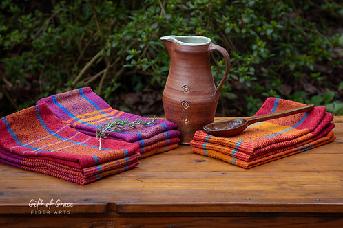 """CUSTOM--set of 10 Handwoven Cotton Kitchen Towels-""""Welcome Home"""""""