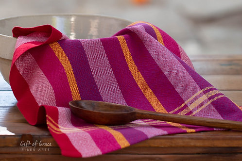"2 Handwoven Cotton Kitchen Towel ""Blossom"" #9 and 10"