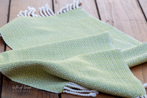 "Handwoven Birdseye Twill Cotton Table Runner ""Spring"""
