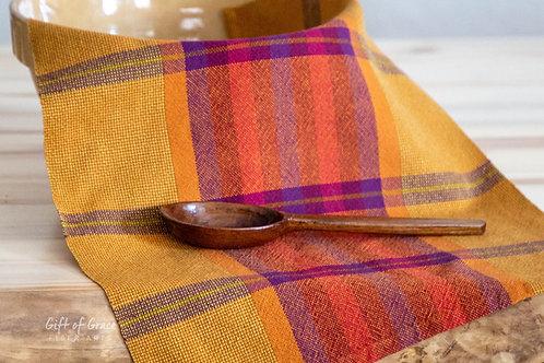 "Handwoven Organic Cotton Kitchen Towel ""Gathering"" (rust weft/plum/brass stripe)"