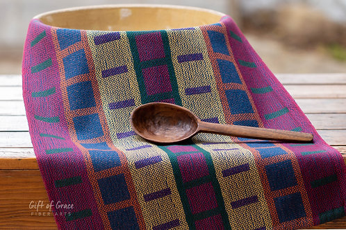 """Handwoven Cotton Kitchen Towel """"Mission Style Turned Taqueté"""" (blue weft)"""