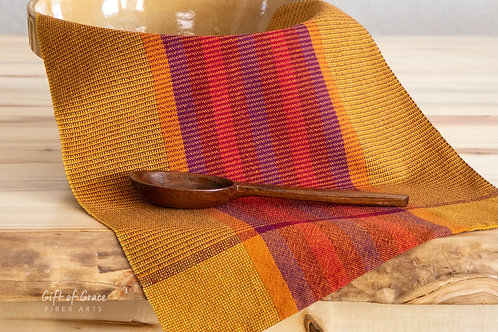 "Handwoven Organic Cotton Kitchen Towel ""Gathering"" (rust/burgundy weft)"