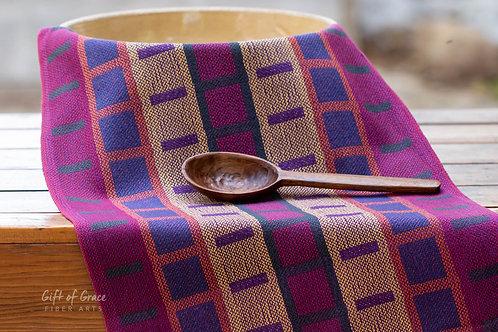 "Handwoven Cotton Kitchen Towel ""Mission Style Turned Taqueté"" (purple weft)"