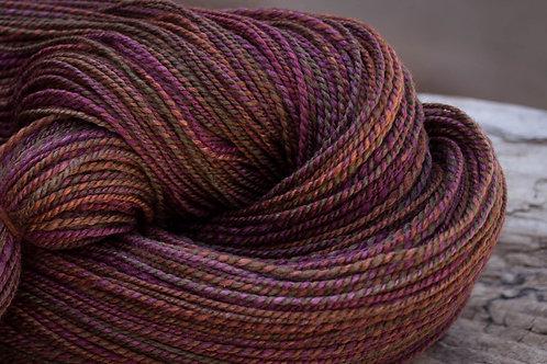 "Fingering Weight NZ Wool (22.8 micron/Silk ""Midnight Orchard"""