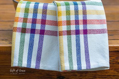 "2 Handwoven Cotton Kitchen Towels-""Love Wins"""