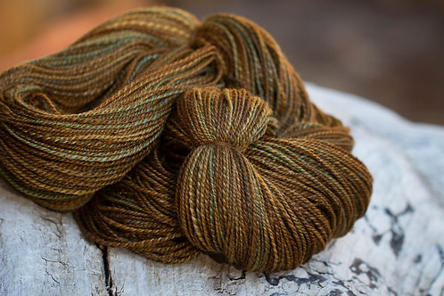 """Fingering Weight Polwarth/Silk """"Roasted Gold"""""""