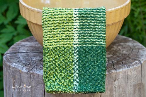 """2 Handwoven Cotton Bouclé Kitchen Towels """"Forest"""""""