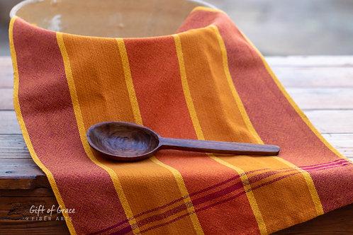 "Handwoven Cotton Kitchen Towel ""Gathering"" (ver. 2-pumpkin weft)"