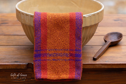 "Handwoven Cotton Bouclé Kitchen Towel ""Hearth"""