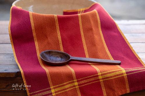 """Handwoven Cotton Kitchen Towel """"Gathering"""" (ver. 2-cayenne weft)"""