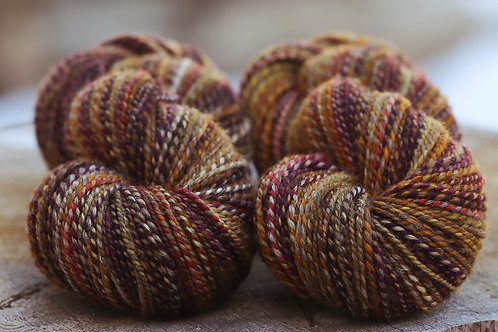 """2 Skeins DK Weight Mixed BFL """"Curried Beets/Pecan Pie"""" Combo Spin"""