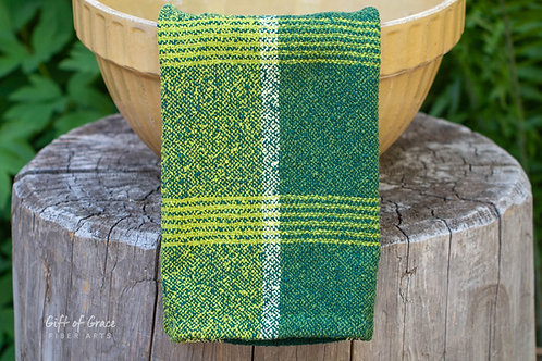 "2 Handwoven Cotton Bouclé Kitchen Towels ""Forest"""