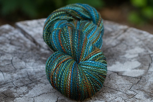 "MEGASIZE Skein--Fingering Weight Organic Polwarth/Silk ""Oceans"""