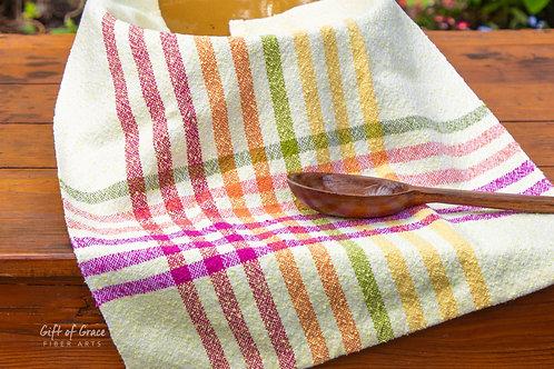 """5 Handwoven Cotton Kitchen Towels--""""April Showers"""""""