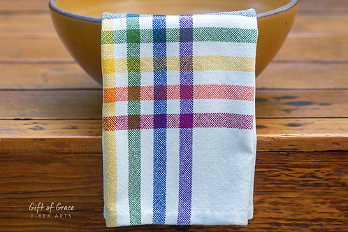 "1 Handwoven Cotton Kitchen Towels-""Love Wins"""