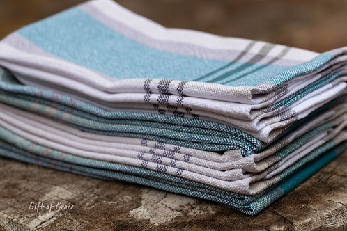 "CUSTOM--set of 8 Handwoven Cotton Kitchen Towels-""Driftwood"""