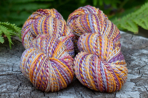 """2 Skeins Worsted Weight Merino """"Berries and Peaches"""""""
