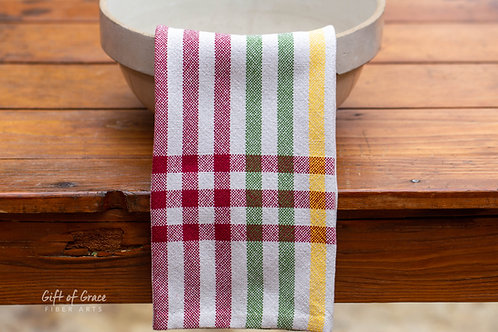 "4 Handwoven Cotton Kitchen Towels ""Winter Solstice"""