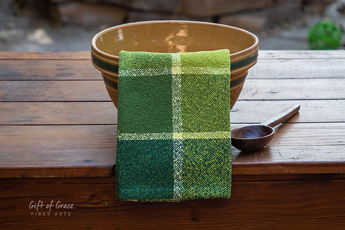 "2 Handwoven Cotton Bouclé Kitchen Towel ""Forest"""