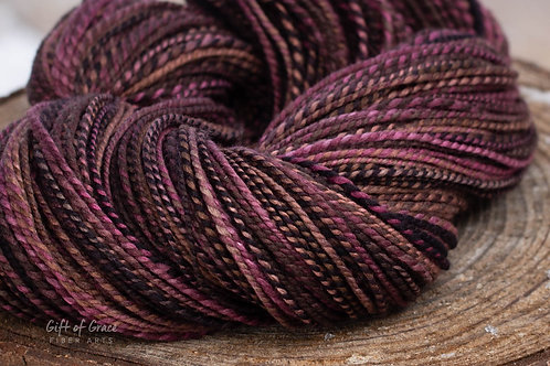"Light Worsted Weight Organic Polwarth/Silk ""Chocolate Bliss"""
