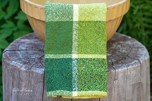"""3 Handwoven Cotton Bouclé Kitchen Towels """"Forest"""""""