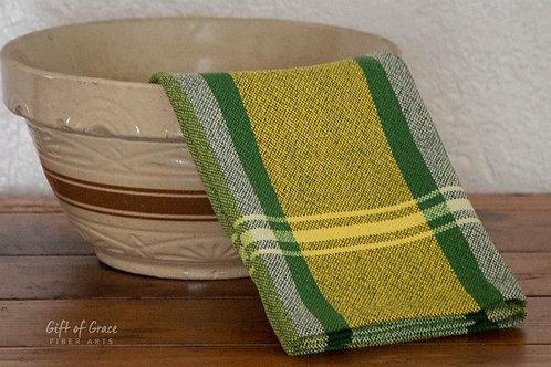 """2 Handwoven Cotton Kitchen Towels """"Springtime"""""""