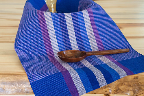 "Handwoven Cotton Kitchen Towel-""Northern Lights"" (royal/lilac thin stripes)"