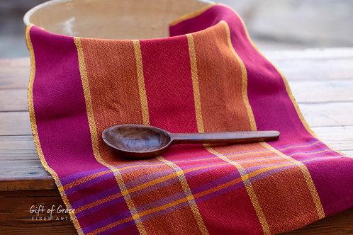 "Handwoven Cotton Kitchen Towel ""Gathering"" (ver. 2)"