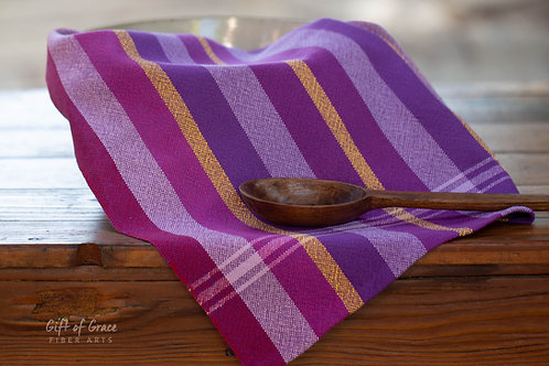 "2 Handwoven Cotton Kitchen Towel ""Blossom"" #7 and 8"
